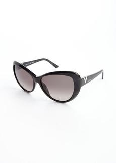 Valentino black acrylic metal v cat eye sunglasses