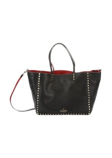 Valentino black and red leather reversible 'Rockstud' convertible trapeze tote