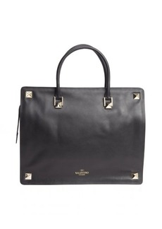 Valentino black calfskin studded large tote