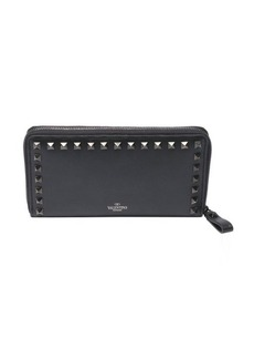 Valentino black leather and canvas continental studded wallet