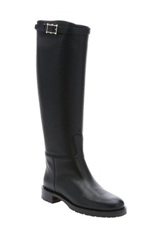 Valentino black leather 'Chevalier' pull-on knee-high boots
