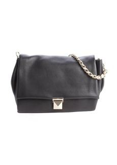 Valentino black leather fold-over chain shoulder bag