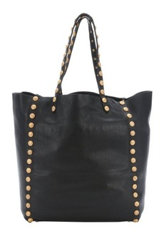 Valentino black leather gryphon studded top handle tote