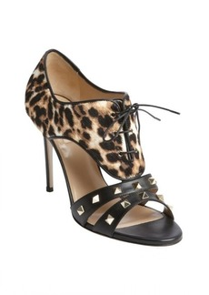 Valentino black leather leopard pony hair studded detail lace up sandals