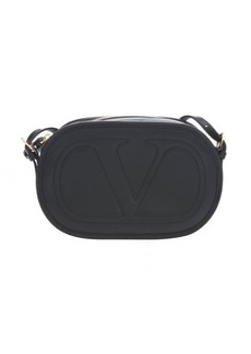 Valentino black leather 'Logo Go' crossbody bag