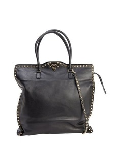 Valentino black leather 'Rockstud' clasp front convertible tote bag
