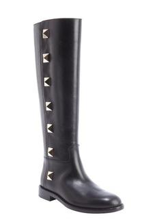 Valentino black leather 'Rockstud' knee high boots
