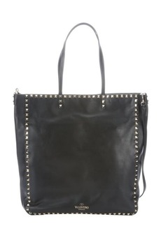 Valentino black leather 'Rockstud' large convertible tote bag