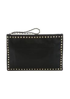 Valentino black leather 'Rockstud' medium clutch