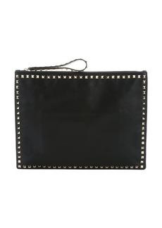 Valentino black leather 'Rockstud' oversize clutch