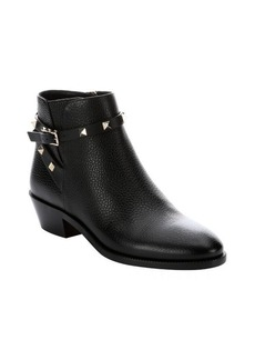Valentino black leather 'Rockstud' slip-on ankle boots