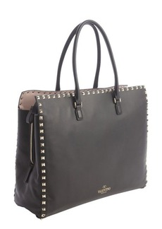 Valentino black leather 'Rockstud' studded detail top handle tote