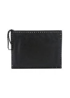 Valentino black leather 'Rockstud' studded trimmed large clutch