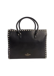 Valentino black leather 'Rockstud' top handle small tote