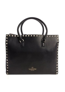 Valentino black leather 'Rockstud' top handle small tote