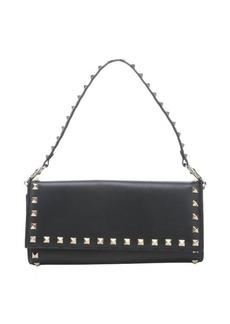 Valentino black leather 'Rockstud' tri-fold continental wallet