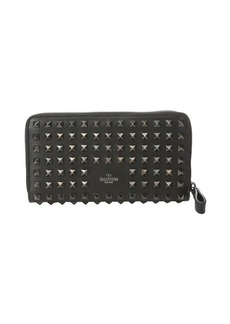 Valentino black leather spiked 'Rockstud' zip continental wallet