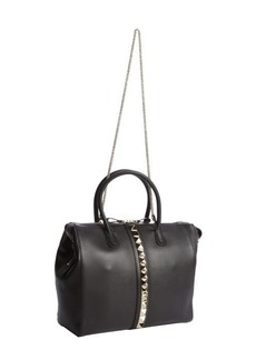 Valentino black leather studded center convertible tote
