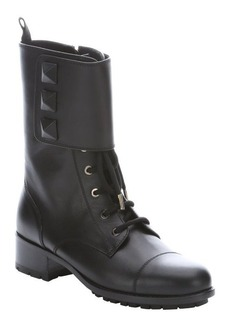 Valentino black leather studded combat ankle boots