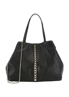Valentino black leather studded detail large convertible tote bag