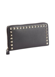Valentino black leather studded detail zip continental wallet