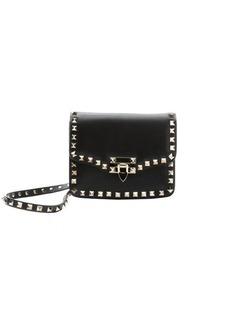 Valentino black leather studded mini shoulder bag