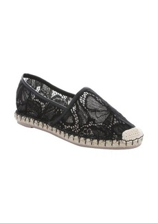 Valentino black leather trimmed lace espadrilles