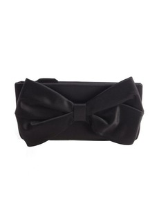 Valentino black satin bow detail clutch