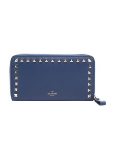 Valentino blue leather 'Rockstud' continental wallet