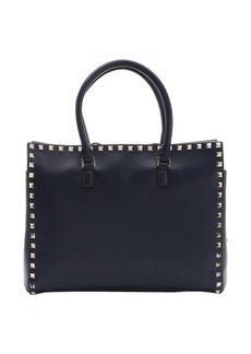 Valentino blue leather 'Rockstud' small tote bag