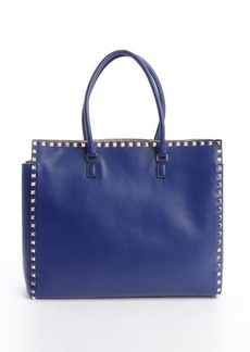 Valentino blue leather 'Rockstud' studded detail top handle tote