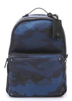 Valentino blue nylon camo backpack