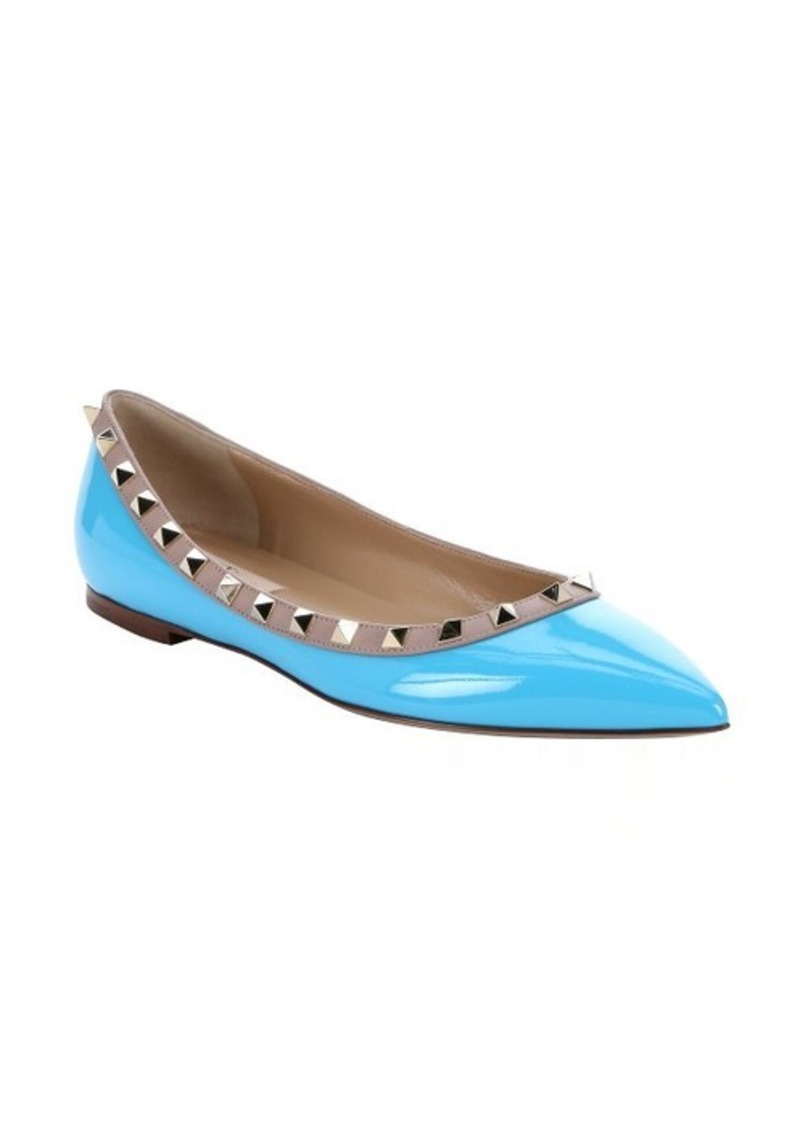 valentino valentino blue patent leather 39 rockstud 39 ballerina flats sizes 7 5 shop it to me. Black Bedroom Furniture Sets. Home Design Ideas