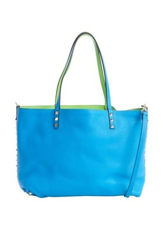 Valentino blue pebbled leather small reversible 'Rockstud' tote