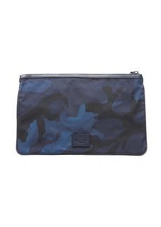 Valentino bluette camouflage nylon flat clutch