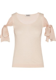 Valentino Bow-detailed cashmere and silk-blend sweater