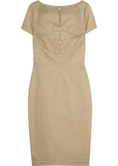 Valentino Bow-embellished cotton and silk-blend faille dress