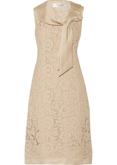 Valentino Bow-embellished floral-lace dress