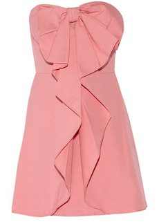 Valentino Bow-embellished stretch-cotton mini dress