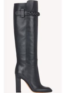 Valentino Braided-Strap Knee Boots
