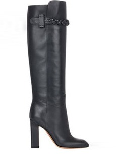 Valentino Braided-Strap Knee Boots