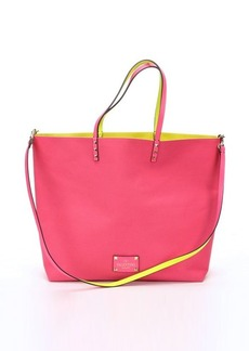 Valentino bright pink and neon yellow reversible canvas convertible tote