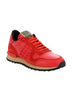 Valentino bright red leather and suede 'Rockstud' lace-up sneakers