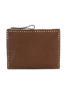 Valentino brown leather 'Rockstud' oversize clutch