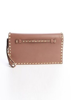 Valentino brown leather 'Rockstud' studded accent wristlet cutch