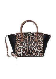 Valentino brown leopard leather and calf hair 'Rockstud' convertible trapeze tote