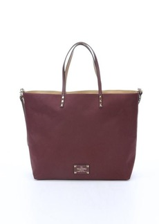 Valentino burgundy and camel reversible canvas convertible tote