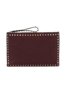 Valentino burgundy leather 'Rockstud' medium clutch