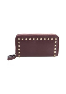 Valentino burgundy leather 'Rockstud' studded detail double zipper continental wallet