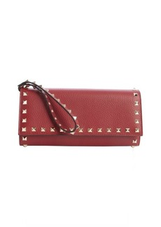 Valentino burgundy leather 'Rockstud' studded detail wallet